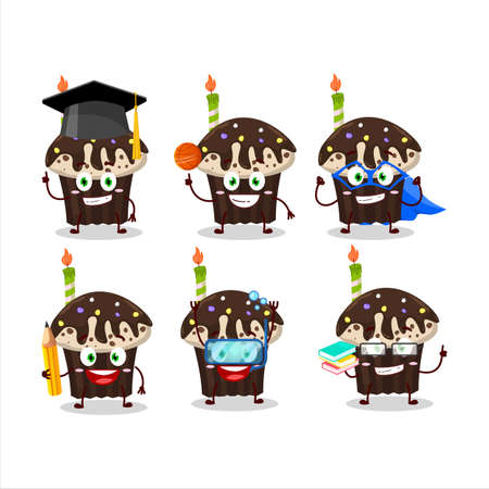 School student of birthday muffin cartoon character with various expressions Illustration