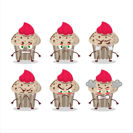 Birthday strawberry muffin cartoon character with various angry expressions Illustration