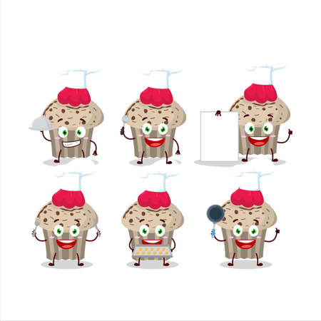 Cartoon character of birthday strawberry muffin with various chef emoticons