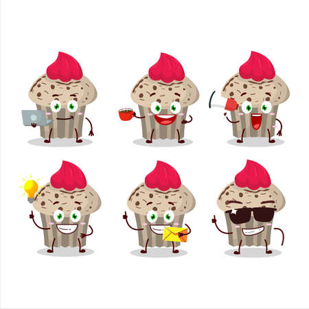 Birthday strawberry muffin cartoon character with various types of business emoticons