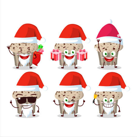 Santa Claus emoticons with birthday strawberry muffin cartoon character Illustration