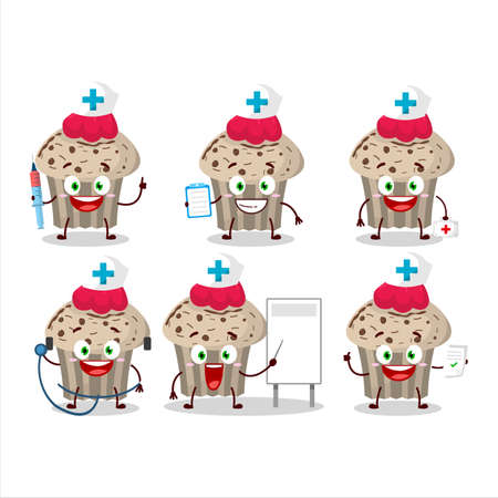 Doctor profession emoticon with birthday strawberry muffin cartoon character Illustration