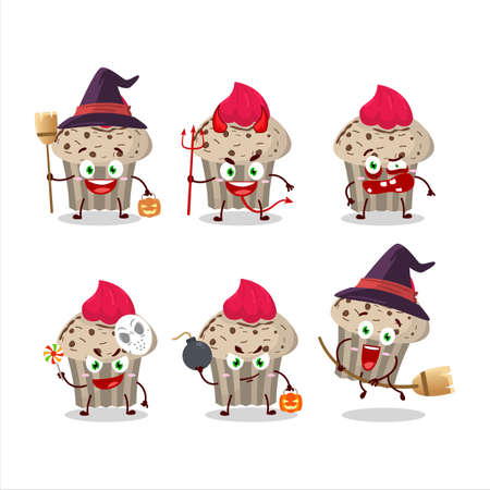 Halloween expression emoticons with cartoon character of birthday strawberry muffin