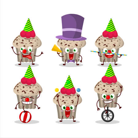Cartoon character of birthday strawberry muffin with various circus shows Illustration