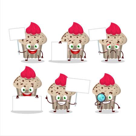 Birthday strawberry muffin cartoon character bring information board