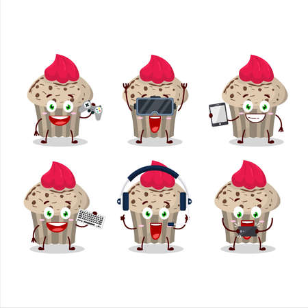 Birthday strawberry muffin cartoon character are playing games with various cute emoticons