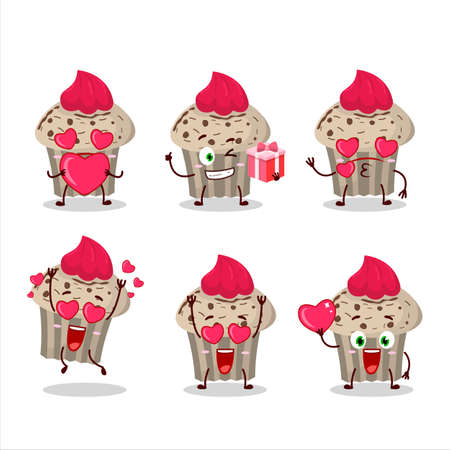 Birthday strawberry muffin cartoon character with love cute emoticon