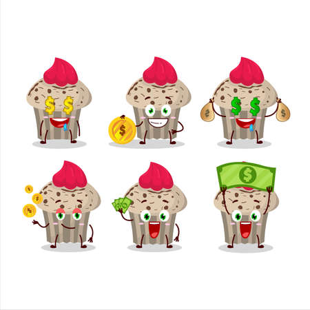 Birthday strawberry muffin cartoon character with cute emoticon bring money Illustration