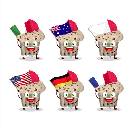 Birthday strawberry muffin cartoon character bring the flags of various countries Illustration