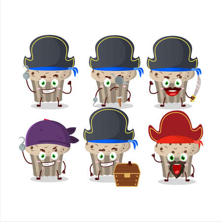 Cartoon character of birthday strawberry muffin with various pirates emoticons Illustration