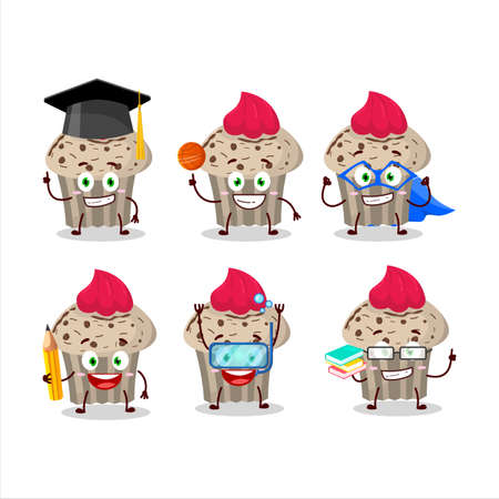School student of birthday strawberry muffin cartoon character with various expressions