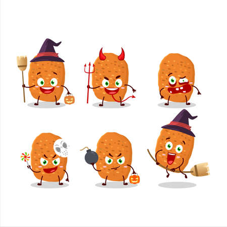 Halloween expression emoticons with cartoon character of chicken nugget Иллюстрация