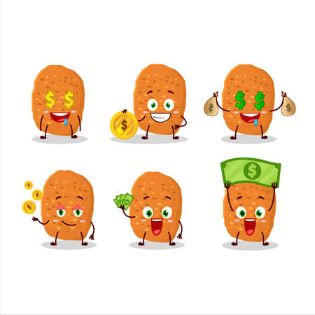 Chicken nugget cartoon character with cute emoticon bring money Иллюстрация