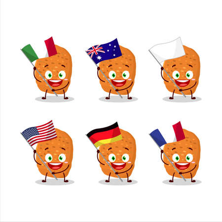 Chicken nugget cartoon character bring the flags of various countries Иллюстрация