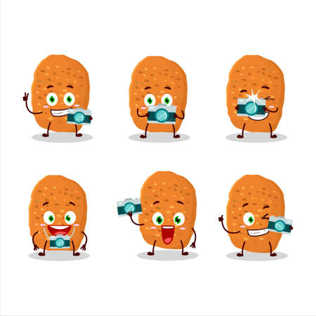 Photographer profession emoticon with chicken nugget cartoon character