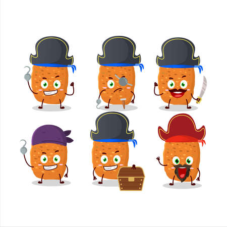 Cartoon character of chicken nugget with various pirates emoticons
