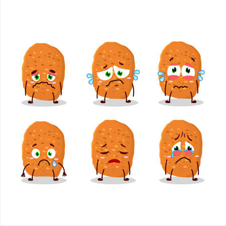 Chicken nugget cartoon character with sad expression