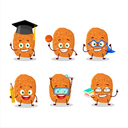 School student of chicken nugget cartoon character with various expressions