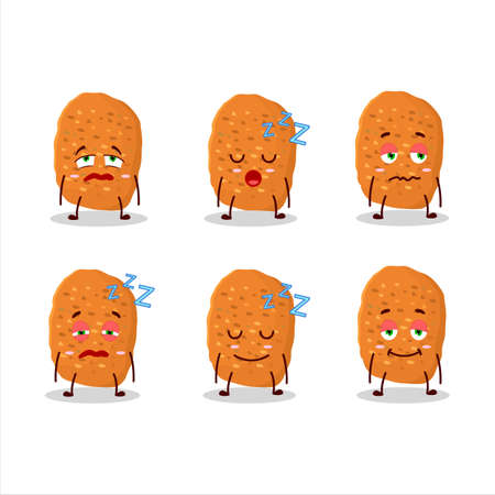 Cartoon character of chicken nugget with sleepy expression