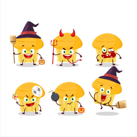 Halloween expression emoticons with cartoon character of cheese muffin