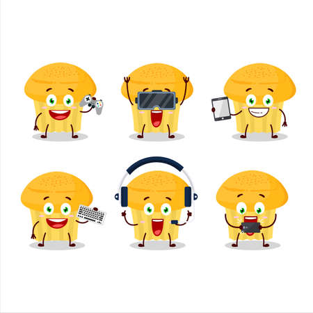 Cheese muffin cartoon character are playing games with various cute emoticons