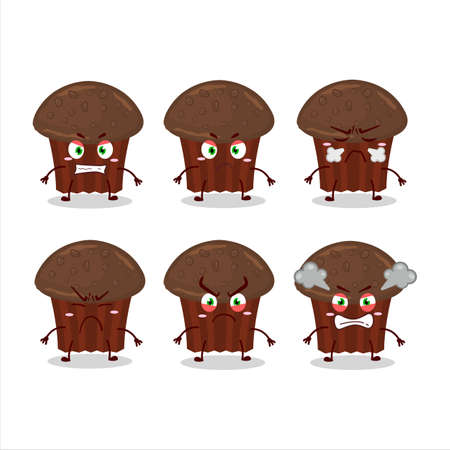Chocolate muffin cartoon character with various angry expressions