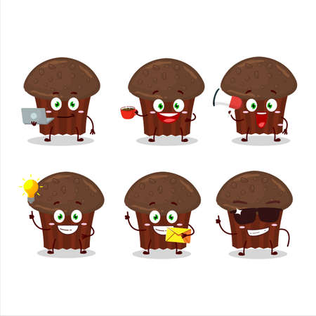 Chocolate muffin cartoon character with various types of business emoticons