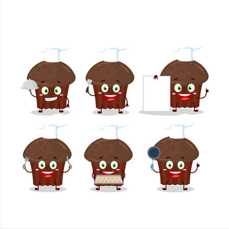 Cartoon character of chocolate muffin with various chef emoticons Иллюстрация