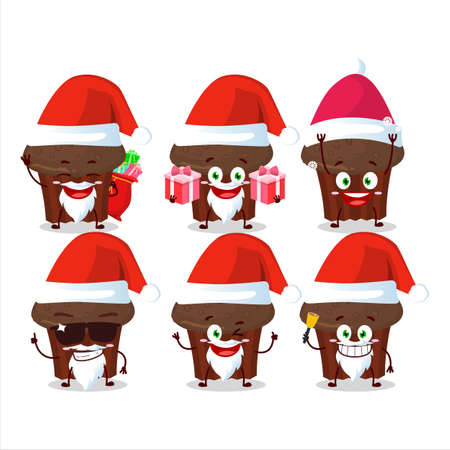 Santa Claus emoticons with chocolate muffin cartoon character