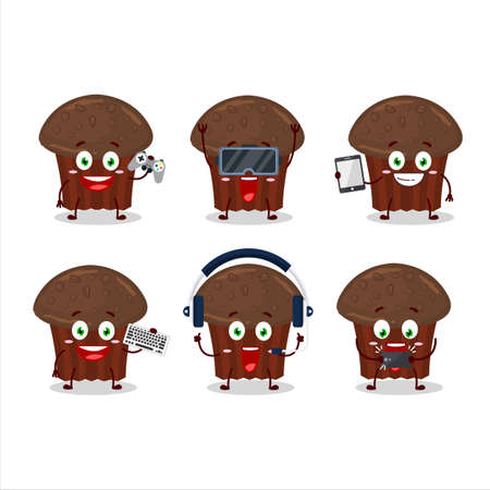 Chocolate muffin cartoon character are playing games with various cute emoticons
