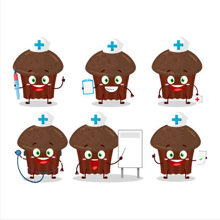 Doctor profession emoticon with chocolate muffin cartoon character