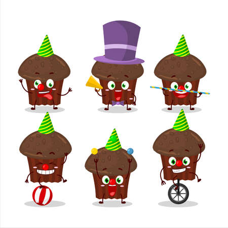 Cartoon character of chocolate muffin with various circus shows