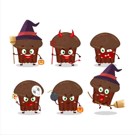 Halloween expression emoticons with cartoon character of chocolate muffin