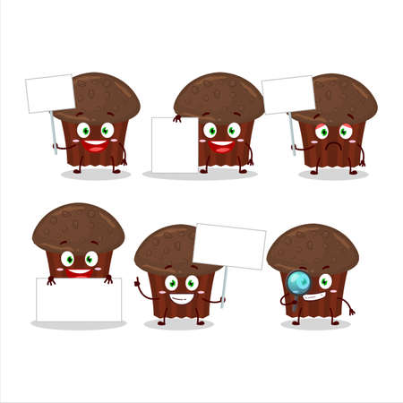 Chocolate muffin cartoon character bring information board