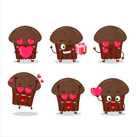 Chocolate muffin cartoon character with love cute emoticon Иллюстрация
