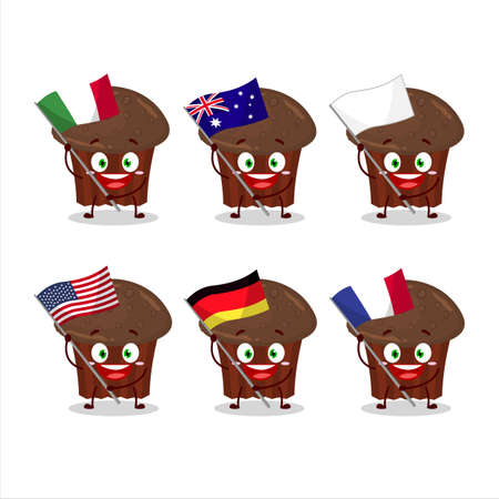 Chocolate muffin cartoon character bring the flags of various countries