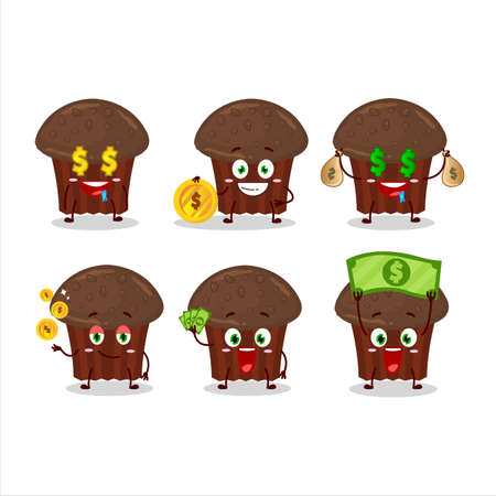 Chocolate muffin cartoon character with cute emoticon bring money