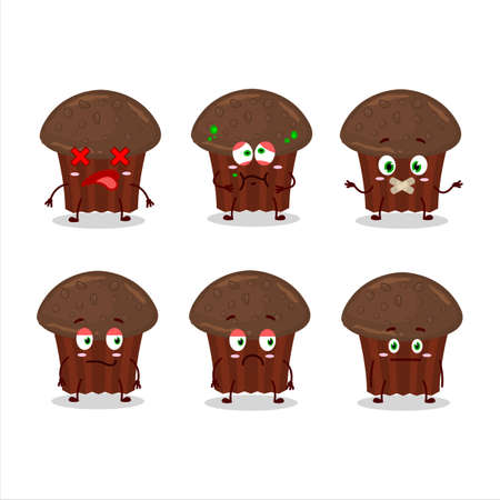 Chocolate muffin cartoon character with nope expression