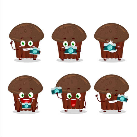 Photographer profession emoticon with chocolate muffin cartoon character Иллюстрация