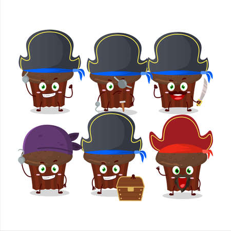 Cartoon character of chocolate muffin with various pirates emoticons Illustration