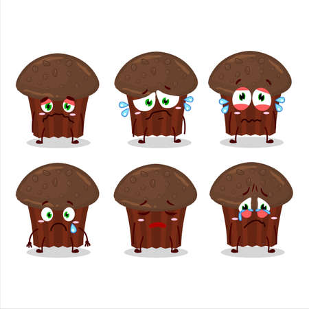 Chocolate muffin cartoon character with sad expression