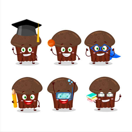 School student of chocolate muffin cartoon character with various expressions Иллюстрация