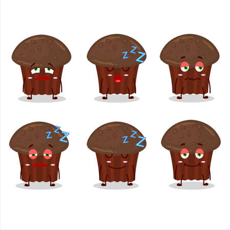 Cartoon character of chocolate muffin with sleepy expression