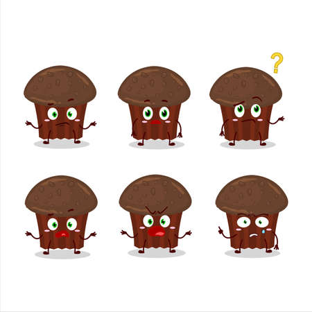 Cartoon character of chocolate muffin with what expression