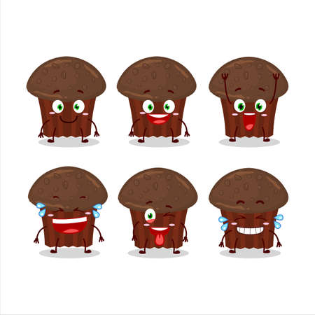 Cartoon character of chocolate muffin with smile expression Illustration
