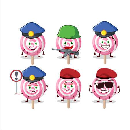 A dedicated Police officer of lolipop spiral mascot design style Illusztráció