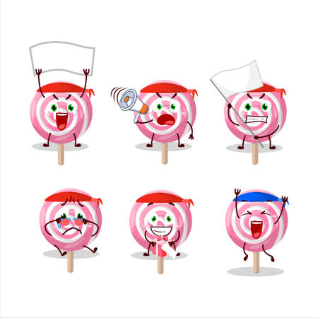 Mascot design style of lolipop spiral character as an attractive supporter
