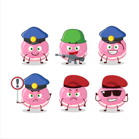 A dedicated Police officer of strawberry dorayaki mascot design style