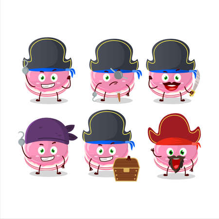 Cartoon character of strawberry dorayaki with various pirates emoticons