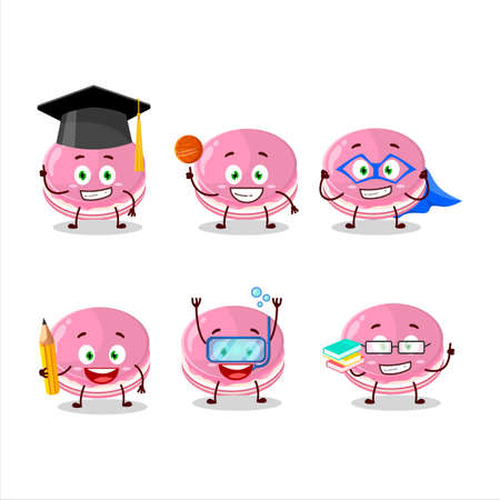 School student of strawberry dorayaki cartoon character with various expressions